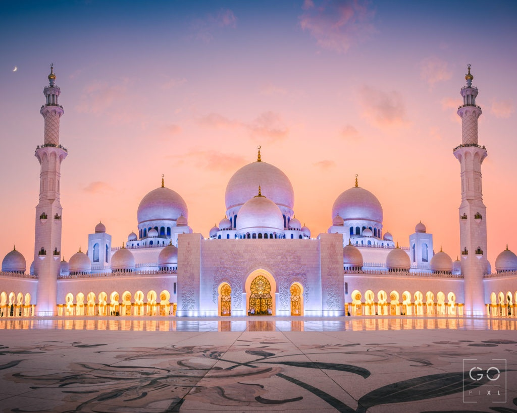 Sunset at the Sheikh Zayed Grand Mosque
