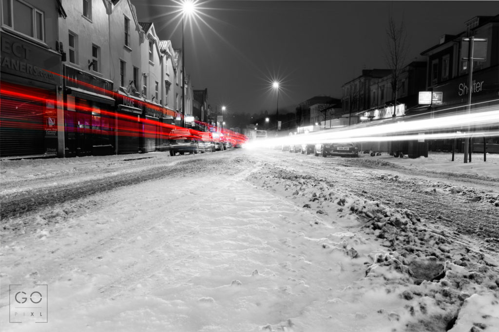 Light trails on snowy Gloucester Road