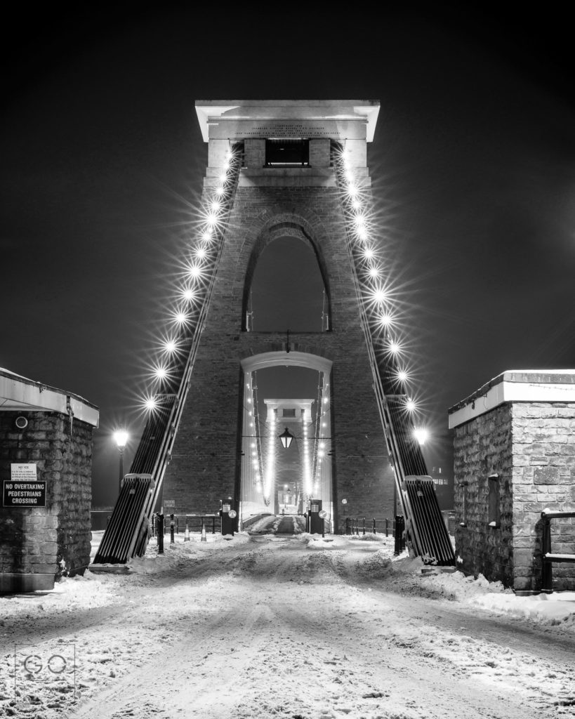 Clifton Suspension Bridge under the snow