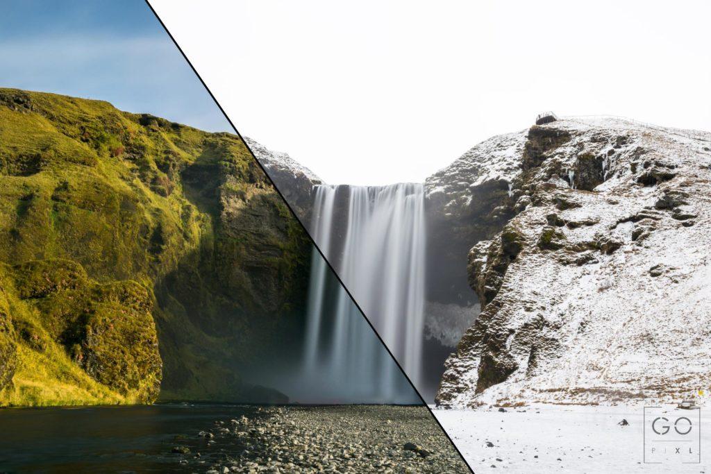 Skogafoss Summer vs. Winter