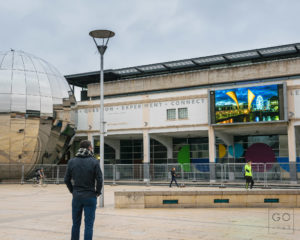 Go-Bristol showing on the Big Screen at Millennium Square
